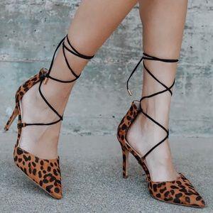 Lulu's Marie Leopard Print Black Suede Lace Heels